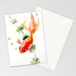 Goldfish, aquarium fish art, design watercolor fish painting Stationery Cards