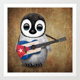 Baby Penguin Playing Cuban Flag Guitar Art Print