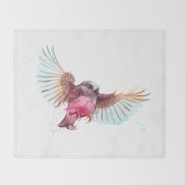 Pink Robin Bird Throw Blanket