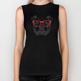Portrait of English Bulldog with glasses. Biker Tank