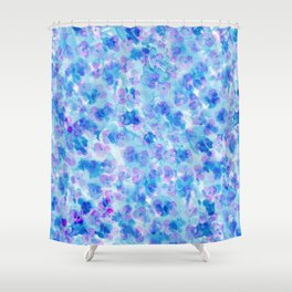 Modern hand painted blush pink blue watercolor floral Shower Curtain