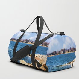 New England Shoreline - Painterly Duffle Bag