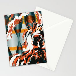Orange Waterfall Futuristic Abstract Art Stationery Cards