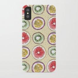Round Fruits painting: kiwi, passionfruit, grapefruit iPhone Case