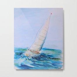 Sailboat Watercolor Metal Print
