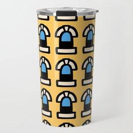 New York Windows Pattern 261 Yellow and Blue Travel Mug