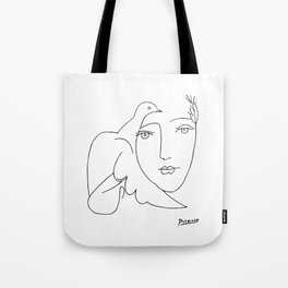 Pablo Picasso Peace (Dove and Face) T Shirt, Sketch Artwork Tote Bag