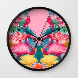 Flamingo and Tropical garden Wall Clock