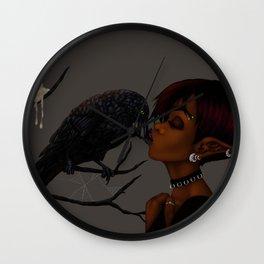 Kissing Crow Wall Clock