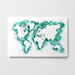 Watercolor splatters world map in teal Metal Print