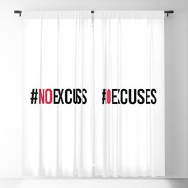 No Excuses Gym Quote Blackout Curtain