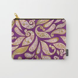 Gold and pink glitter Paisley pattern on purple Carry-All Pouch