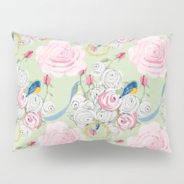 Shabby Chic Bluebirds and Roses Pillow Sham