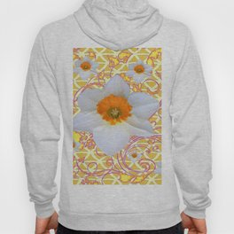 WHITE DAFFODILS DELICATE VIOLET SCROLLS ART  PATTERN Hoody