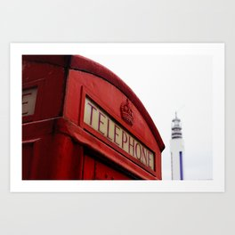 Telephone Box & Tower Art Print