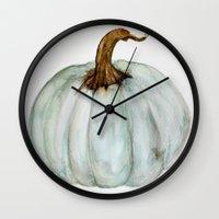 craftberrybush Wall Clocks featuring Blue-Gray Cinderella Pumpkin - Watercolor  by craftberrybush