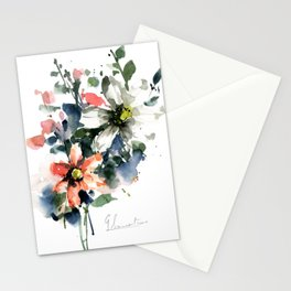 Petals in the Rain Watercolor Loose Floral Painting by Mylittlebasil Studio Stationery Cards