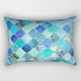 Cobalt Blue, Aqua & Gold Decorative Moroccan Tile Pattern Rectangular Pillow