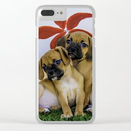 Two Puggle Puppies Snuggling in front of a Background with Hand-painted Red Flowers Clear iPhone Case