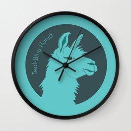 Teal-Blue Llama Wall Clock