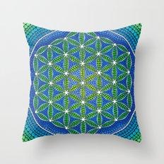 Flower of Life- Ocean Colours Throw Pillow