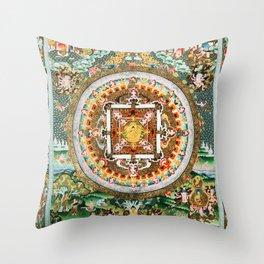 Buddhist Mandala White Tara Throw Pillow