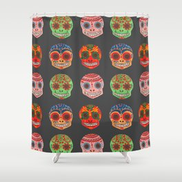 Watercolor Dia de los Muertos Skulls Shower Curtain
