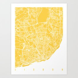 lisbon map yellow Art Print