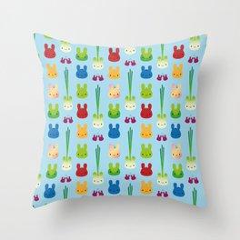 Kawaii Bunny Fruit & Vegetables Throw Pillow