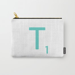 Aqua Letter T Art Scrabble Tiles Carry-All Pouch