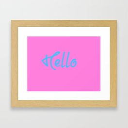 Hello Saying In Pink And Blue Framed Art Print