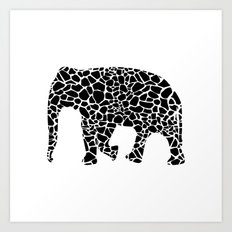 Elephant with giraffe print Art Print