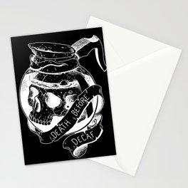 Death before decaf black Stationery Cards