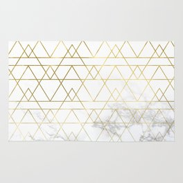Gold Geometric Marble Deco Design Rug