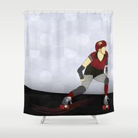 roller derby Shower Curtains featuring Roller Derby by Aquamarine Studio
