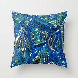 Teal Blue Gold Art Deco Sequin Throw Pillow