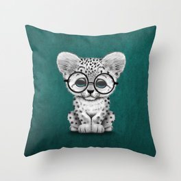 Cute Snow Leopard Cub Wearing Glasses on Teal Blue Throw Pillow