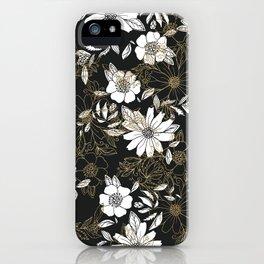 Modern black white faux gold elegant floral iPhone Case