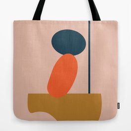 Abstract #1 Orange Blue Beige Tote Bag