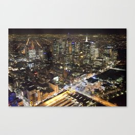 Melbourne By Night Canvas Print