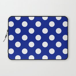 Indigo dye - blue - White Polka Dots - Pois Pattern Laptop Sleeve