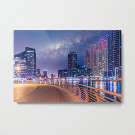 Dubai Nights with Milky Way Metal Print