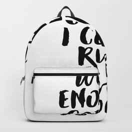 With Enough Coffee I Could Rule the World funny office wall decor in hand lettered black and white Backpack