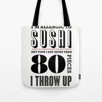 sushi Tote Bags featuring Sushi by paperchatshop