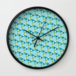 Retro Pattern Hexagons and Triangles Blue/Green Wall Clock