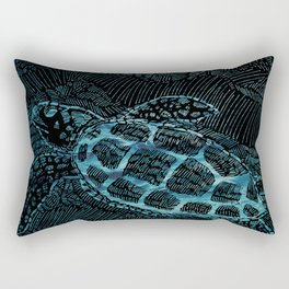 Turtle in the Big Blue Rectangular Pillow