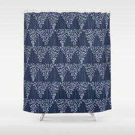 Dots + Stripes - Indigo Shower Curtain