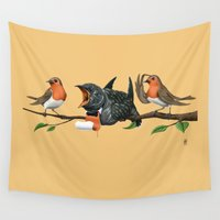 cock Wall Tapestries featuring Cock Robin (Colour) by rob art | illustration