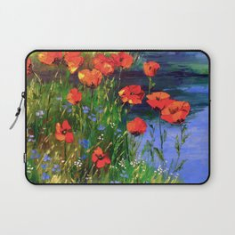 Poppies at the pond Laptop Sleeve
