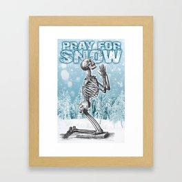 PRAY FOR SNOW (PRAYING SKELETON) Framed Art Print